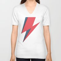 lightning V-neck T-shirts featuring Lightning by Stag Nacht