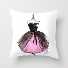 Pink and Black Sheer Dress Fashion Illustration Throw Pillow