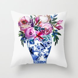 Vivid Chinoiserie Number 3 Throw Pillow