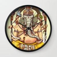 ganesha Wall Clocks featuring Ganesha by Pirates of Brooklyn