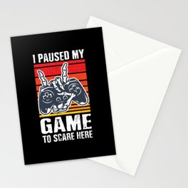 I Paused My Game To Scare Here Funny Halloween Stationery Cards