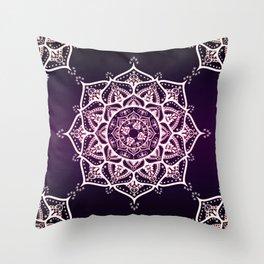 Violet Glowing Spirit Mandala Throw Pillow