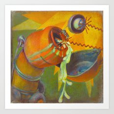 DickBot Attacked by BitchBot Art Print