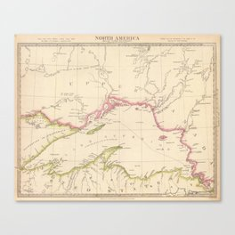 Vintage Map of Lake Superior (1832) Canvas Print