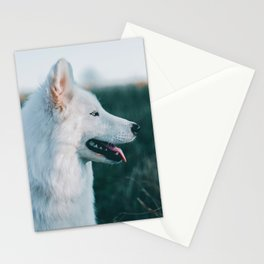 White Wolf Tongue Out (Color) Stationery Cards