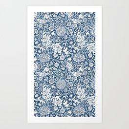 William Morris Navy Flower Field Pattern Art Print