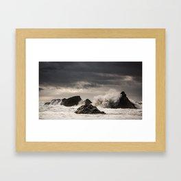 Waves Batter the Ocean Rocks During Rough Weather at Harris Beach State Park in Brookings, Oregon Framed Art Print