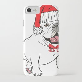 Christmas Bulldog Dog Santa Hat Gift for Dog Lovers iPhone Case