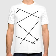Geometric abstract - white and black. White Mens Fitted Tee MEDIUM