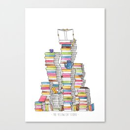 Mountain of books for booklovers (and catlovers, and tealovers). Watercolor Canvas Print