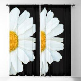 Hello Daisy - White Flower Black Background #decor #society6 #buyart Blackout Curtain