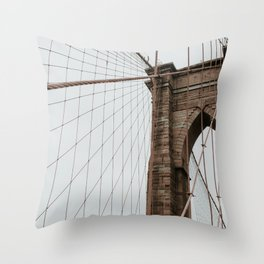 Brooklyn Bridge close up   Colourful Travel Photography   New York City, America (USA) Throw Pillow