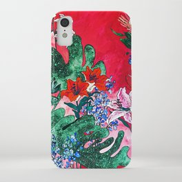 Ruby Red Floral Jungle iPhone Case