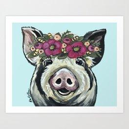 Cute Pig Art, Flower Crown Pig Art Art Print