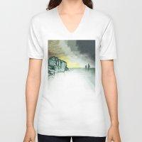 sailing V-neck T-shirts featuring Sailing by Brontosaurus