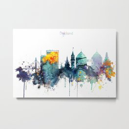 Watercolor Oakland skyline cityscape Metal Print