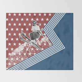Ski like a Girl for USA Throw Blanket