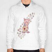 piglet Hoodies featuring Piglet Loves Coffee by DMiller