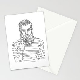 Beard Man with a Pipe Stationery Cards