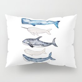 Watercolor orca whale, spermwhale, humpback, narwhal, beluga whales Pillow Sham