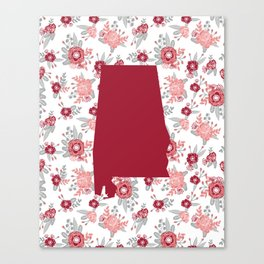 Alabama state silhouette university of alabama crimson tide floral college football gifts Canvas Print