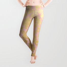 Princess like - Luxury pink gold ornamental damask pattern Leggings