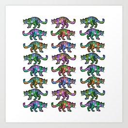 plusieurs chats qui vient de l'espace Art Print