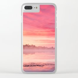 Beautiful Bright Colorful Sunrise Over Lake in The Boundary Watershe Boundary Waters Clear iPhone Case