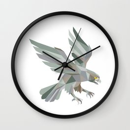 Peregrine Falcon Swooping Grey Low Polygon Wall Clock