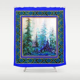 WESTERN  BLUE FOREST WATER COLOR TEAL PATTERN ART Shower Curtain