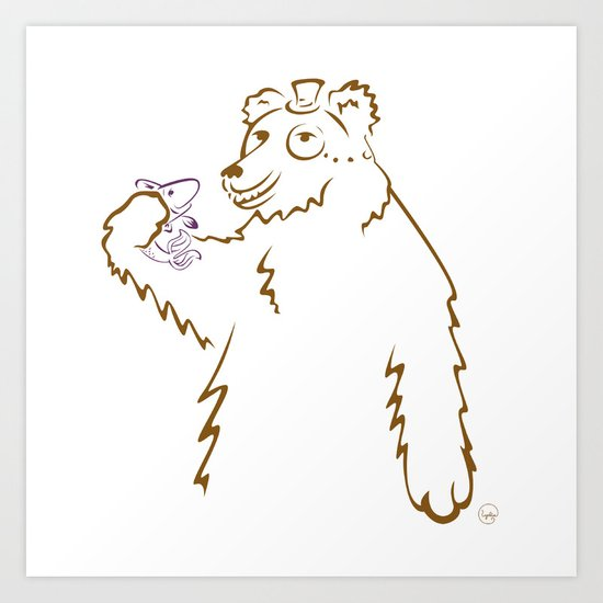 Bear & Fish Art Print