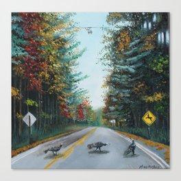 Turkey Crossing Autumn Trees Art Canvas Print
