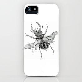 Dotwork Flying Beetle Illustration iPhone Case