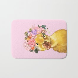 Yellow Duckling with Flowers Crown Bath Mat