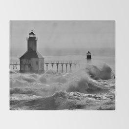 Lake Michigan's Fury - St. Joseph Lighthouses Throw Blanket