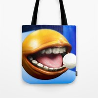pacman Tote Bags featuring PacMan by Joshua A. Biron