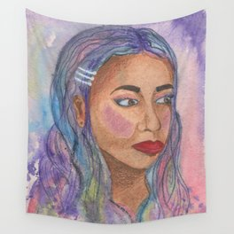 Girl Portriat Purple and Blue Wall Tapestry