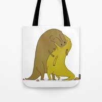 sex and the city Tote Bags featuring tyrannosaurus sex by alex eben meyer