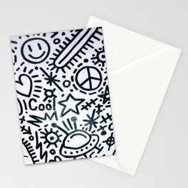 black and white graphics Stationery Cards