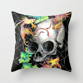 Betta Skull Throw Pillow