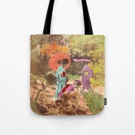 Geisha in the garden Tote Bag