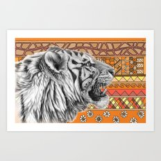 White tiger profile G001-012 Art Print
