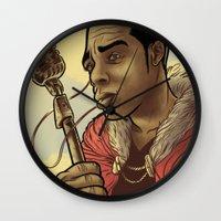 rap Wall Clocks featuring Proclaimed King of Rap by Logan  Faerber