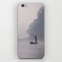 Canoeing through the fog iPhone Skin