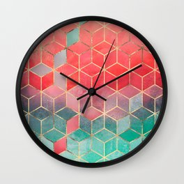 Rose And Turquoise Cubes Wall Clock