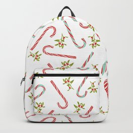 Christmas Candy Cane Pattern White Backpack