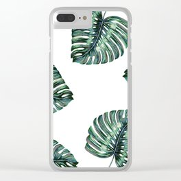 Split Leaf Philodendron Watercolor Clear iPhone Case