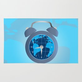 Earth and alarm clock on map background Rug