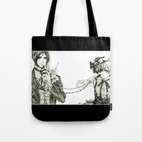 black butler Tote Bags featuring Kuroshitsuji - Black Butler by Tyliss