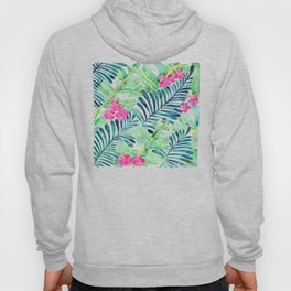 Lush Tropical Fronds & Hibiscus Hoody